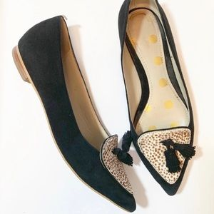 Boden Leopard Print and Black Suede Flats 6.5
